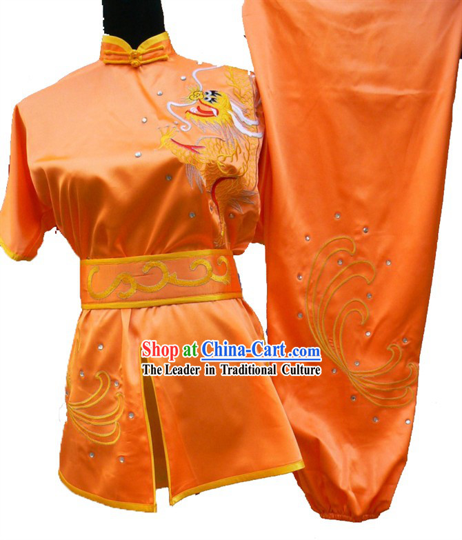Orange Chinese Dragon Embroidery Long Fist Martial Arts Clothing