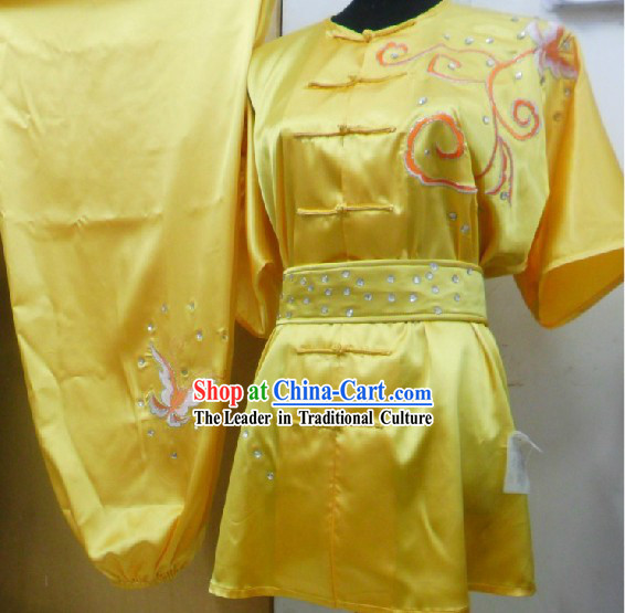 Yellow Chinese Embroidery Long Fist Southern Fist Kung Fu Uniform