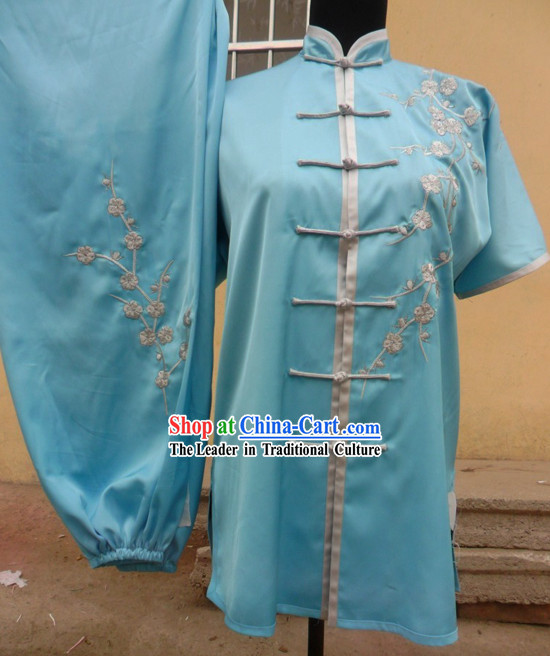 Traditional Chinese Plum Blossom Embroidery Short Sleeves Kung Fu Uniform