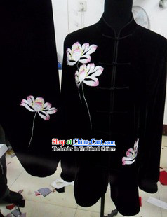 Black Traditional Chinese Lotus Embroidery Long Sleeve Gong Fu Uniform