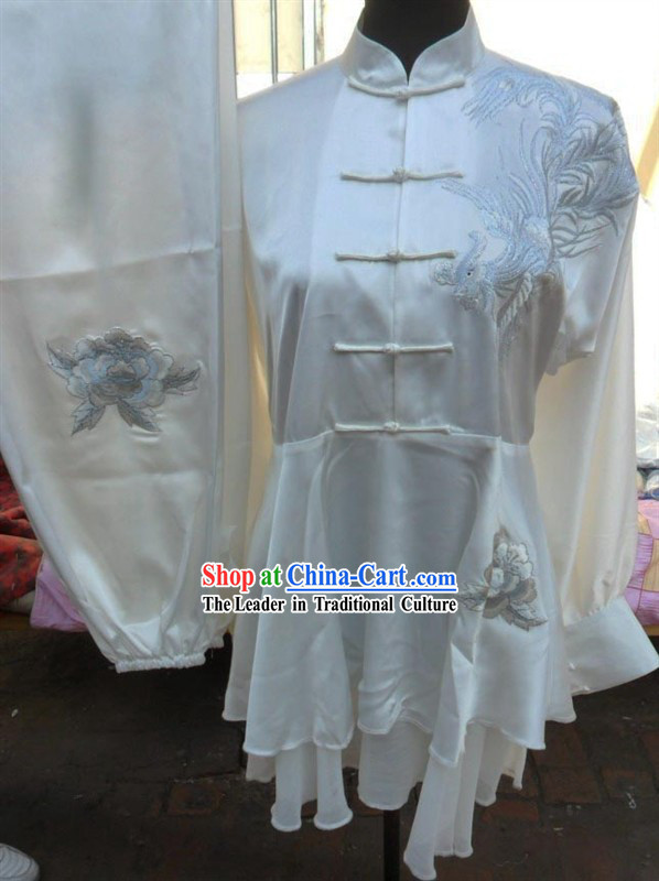 White Mandarin Phoenix Embroidery Martial Arts Tai Chi Uniforms
