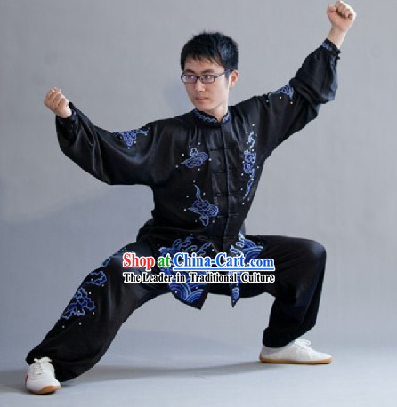 Traditional Chinese Black Kung Fu Tai Chi Martial Arts Uniform