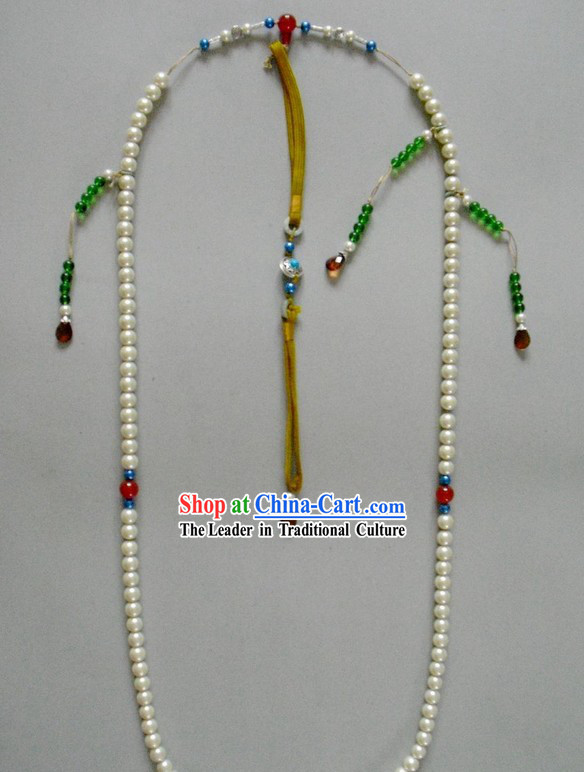 Traditional Chinese Qing Dynasty Official Chaozhu Long Necklace for Emperor