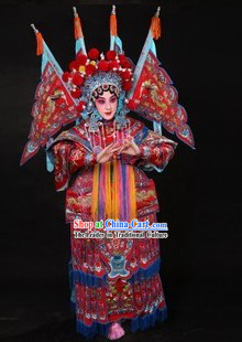 Traditional Chinese Peking Opera Mu Guiying Costumes and Helmet
