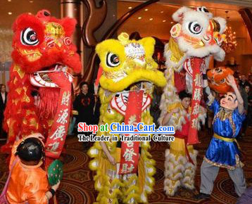 Red Golden and White Lion Dance Costumes Three Sets and Two Laughing Masks and Costumes Set