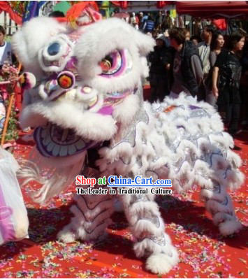 White Classical Competition and Performance Lion Dance Clothes Complete Set