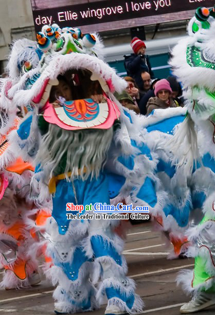 Grand Opening Ceremony White and Blue Lion Dance Costume Complete Set