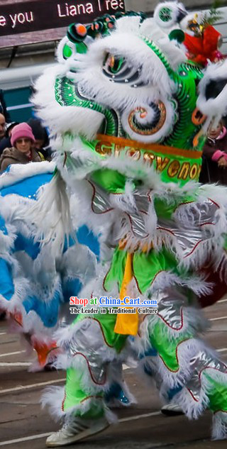 Grand Opening Ceremony White and Green Lion Dance Costume Complete Set