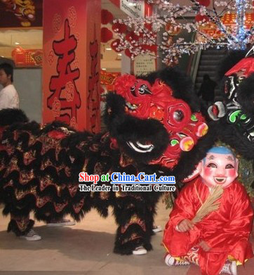 Red and Black Chinese New Year Customs Traditionals Lion Dance Lion Set
