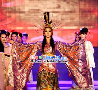 Ancient China Queen Clothes and Head Pieces Full Set