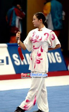 Flower Petal White Kung Fu Competition Contest Clothes for Girls