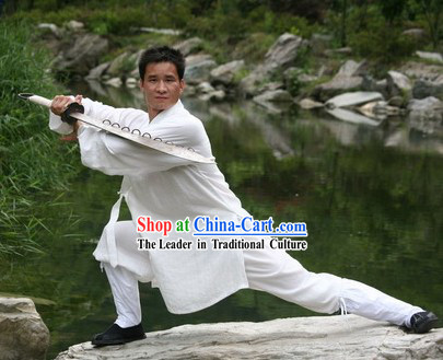 Pure White Broadsword Cotton Dao Shi Robe and Pants for Men