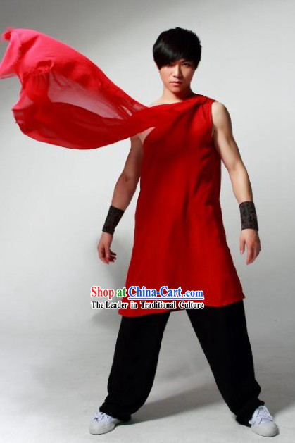 Red Sleeveless Wushu Robe and Black Pants for Men for Stage Performance