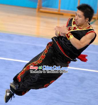 Black Silk Southern Fist Nanquan Competition Uniforms for Men