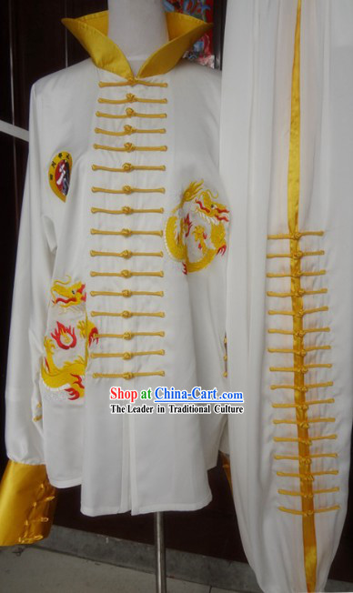 High Collar Silk Embroidered Dragon Tai Chi Uniform Clothing for Men or Women
