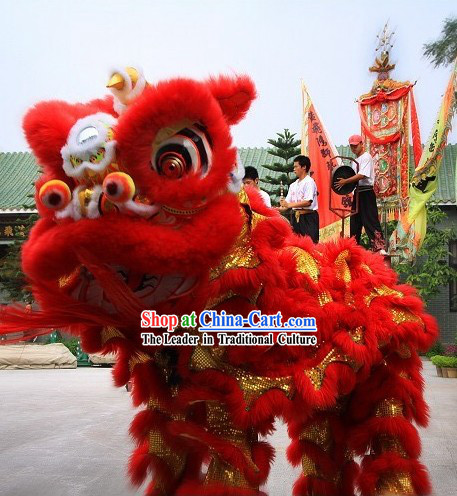 Supreme Red Natural Wool Grand Opening and Business Advertising Lion Dance Costume Complete Set