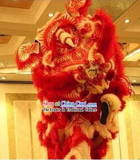 Traditional Chinese Old Style Red Business Opening Lion Dance Equipment Complete Set