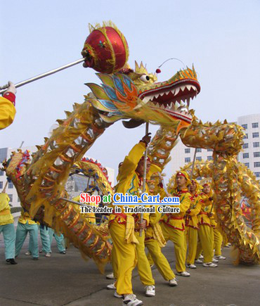 Shinning Golden Lightweight Net Dragon Dancing Costumes for Ten Adults