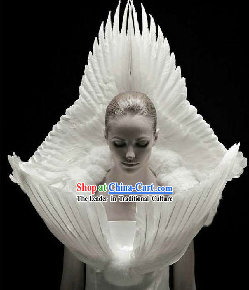 White Angel Feather Style Stage Performance Costume for Dancer