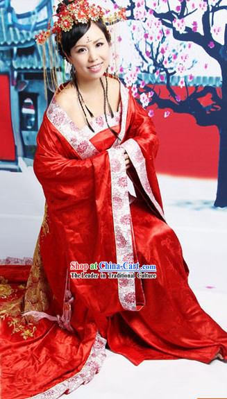 Luxury Ancient Traditional Chinese Red Wedding Dress for Brides