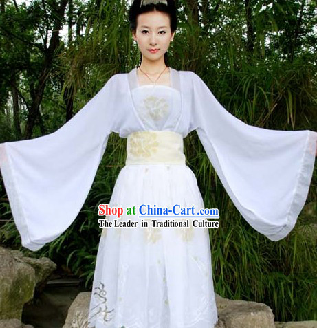 White Ancient Traditional Chinese Fairies Costume for Girls