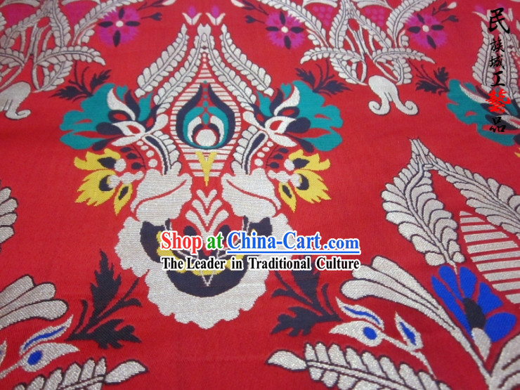 Red Traditional Chinese Tibetan Robe Clothing Fabric