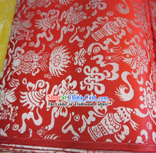 Orange Traditional Chinese Tibetan Auspicious Treasures Robe Clothes Table Cloth Curtains Fabric