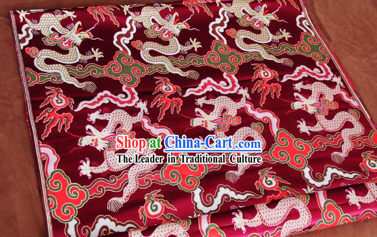 Dark Red Traditional Chinese Dragon Pattern Tibetan Clothes Fabric
