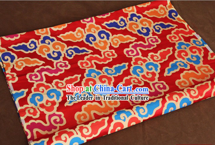 Red Traditional Chinese Cloud Tibetan Fabric