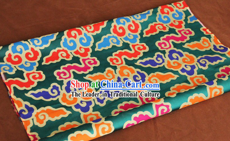 Green Traditional Chinese Tibetan Clothing Fabric