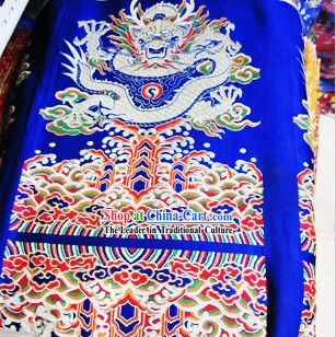 Blue Traditional Chinese Tibetan Dragon Fabric