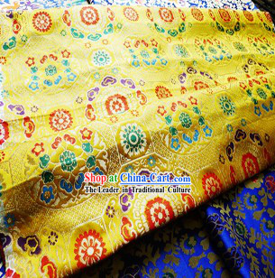 Golden Traditional Chinese Tibetan Fabric