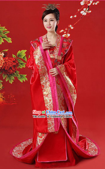 Ancient Chinese Red Brides Phoenix Wedding Dress