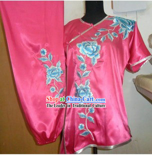 Pink Professional Flower Embroidery Martial Arts Competition Suit for Women