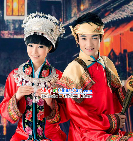 Miao Ethnic Minority Wedding Dresses Two Sets for Men and Women