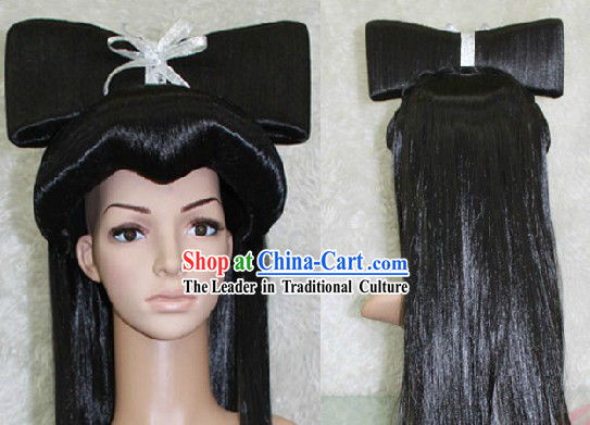 Ancient Chinese Black Fairy Bai Niang Zi Long Wig