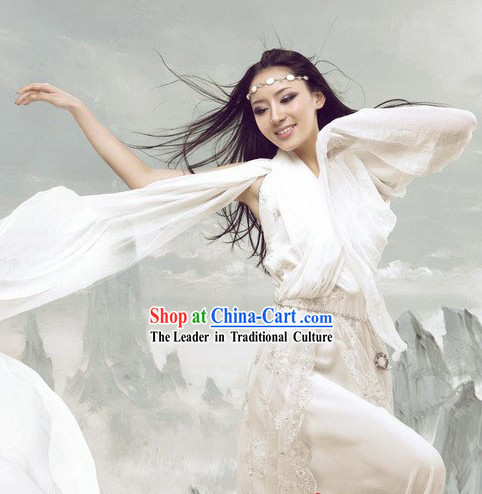 Ancient Chinese White Fairy Costumes and Hair Accessories
