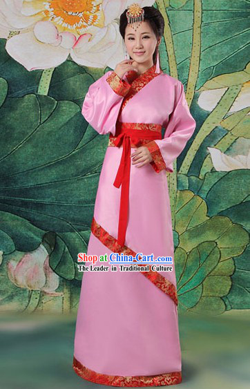 Ancient Chinese Pink Hanfu Clothing Complete Set