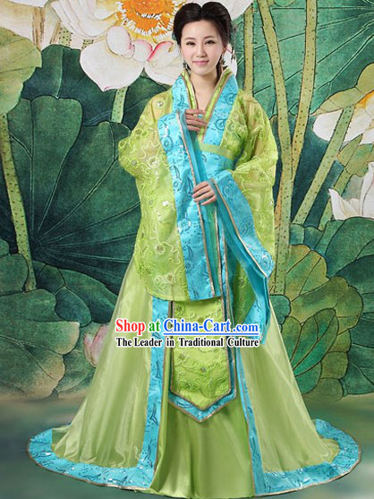 Ancient Chinese Tang Dynasty Green Clothing Complete Set