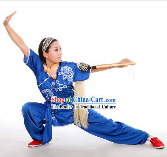 Blue Flower Embroidery Martial Arts Tai Chi Performance Uniform for Women