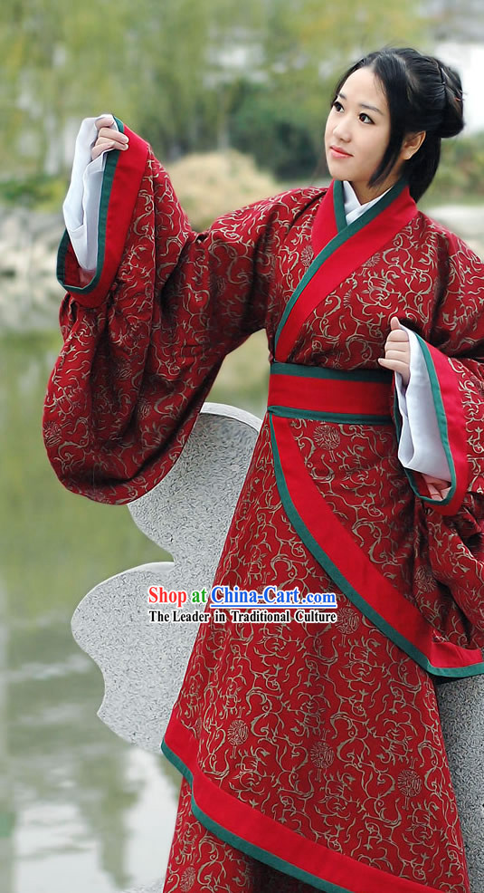 Ancient Chinese Red Princess Floral Han Fu Clothing Complete Set