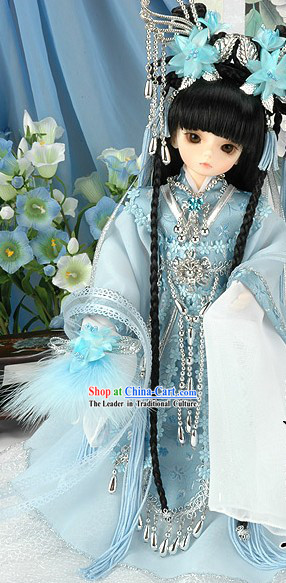 Light Blue Traditional Chinese Costumes for Kids