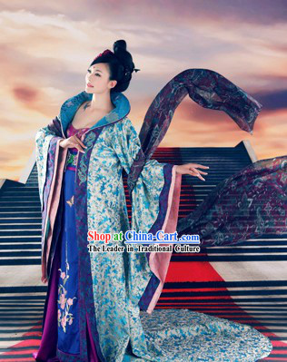 Ancient Chinese Tang Princess Clothing and Hair Accessories Complete Set