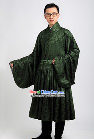 Green Ancient Chinese Han Fu Clothes for Men
