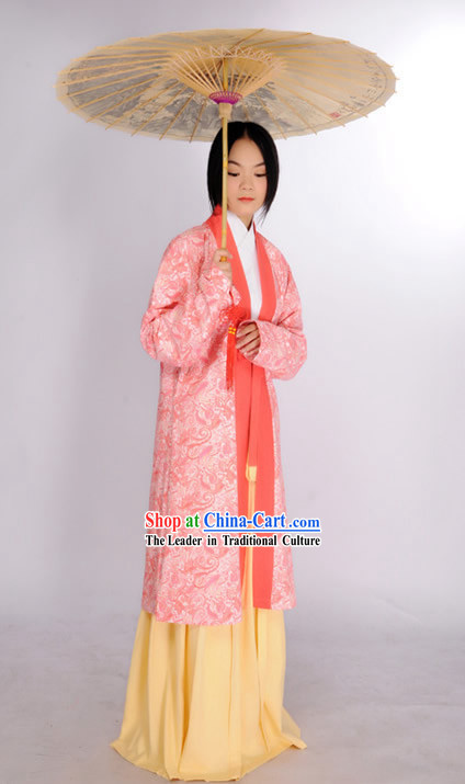Ancient Chinese Beauty Outfits and Umbrella Complete Set