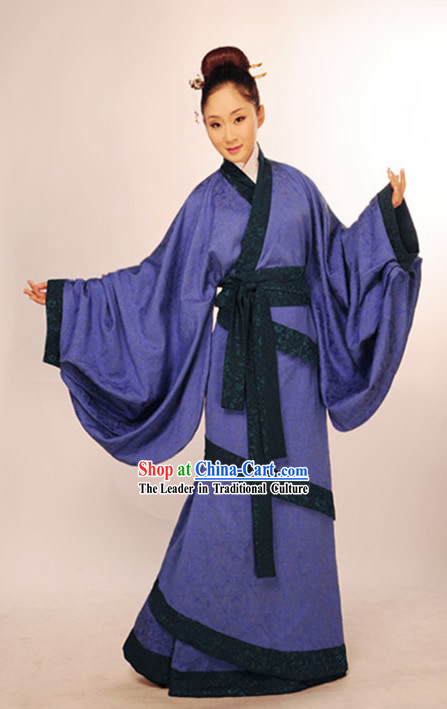 Ancient Chinese Blue Guzhuang Hanfu Garments for Girls
