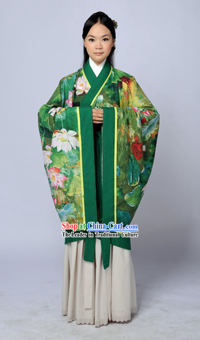 Original Design Ancient Chinese Green Lotus Hanfu Outfits