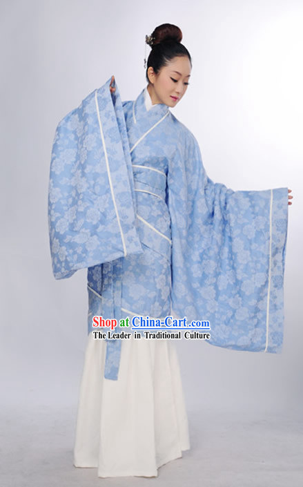 Ancient Chinese Light Blue Flower Hanfu Clothing