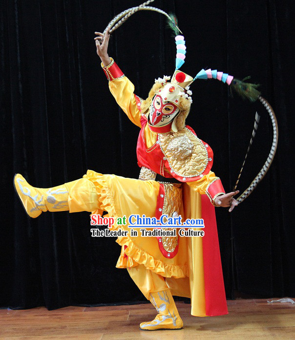 Traditional Chinese Monkey King Sun Wukong Mask Changing Costumes and Helmet