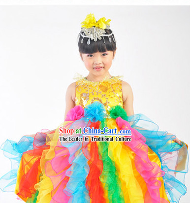 Chinese Dance Costumes and Singing Group Costumes for Kids Girls